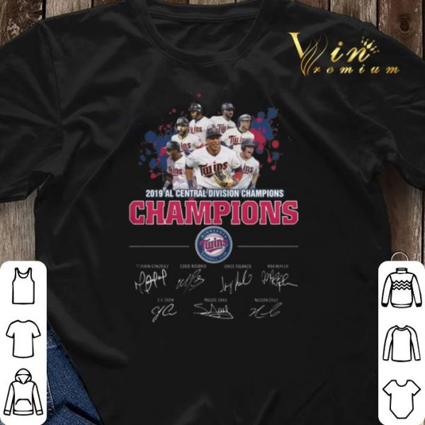 Signatures 2019 Al Central Division Champions Minnesota Twins shirt