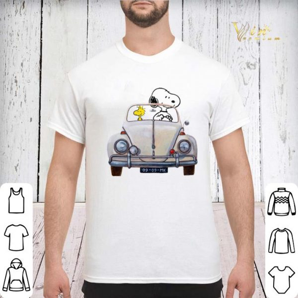 Snoopy and woodstock driving Volkswagen Beetle shirt sweater