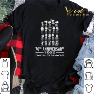 Thank you for the memories Peanuts 70th anniversary 1950-2020 shirt