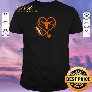 Awesome Love Texas Longhorns Stethoscope Heartbeat nurse shirt sweater