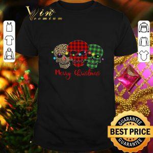 Cheap Skull Merry Christmas Leopard Pattern Plaid shirt