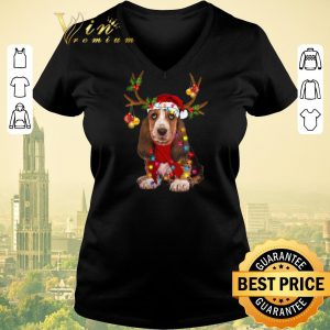 Hot Basset Hound santa reindeer Christmas shirt sweater