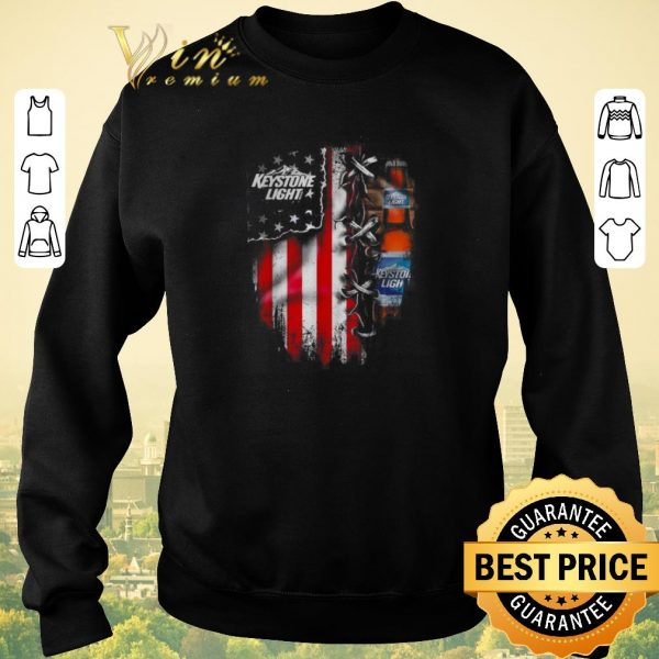 Nice Keystone Light beer inside American flag shirt sweater