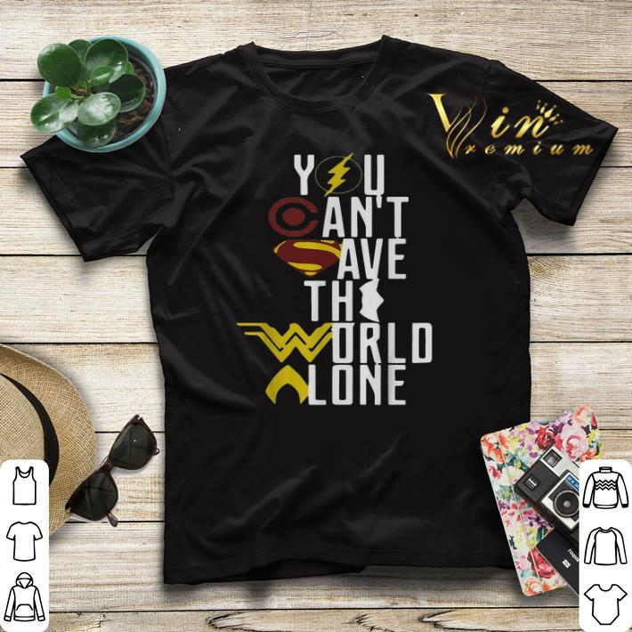 Superheroes logo you can t save the world alone shirt sweater 4 - Superheroes logo you can't save the world alone shirt sweater