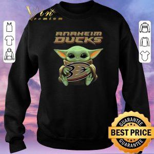 Awesome Baby Yoda hug Anaheim Ducks Star Wars Mandalorian shirt sweater 2