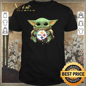 Awesome Star Wars Baby Yoda hug Autism Pittsburgh Steelers shirt