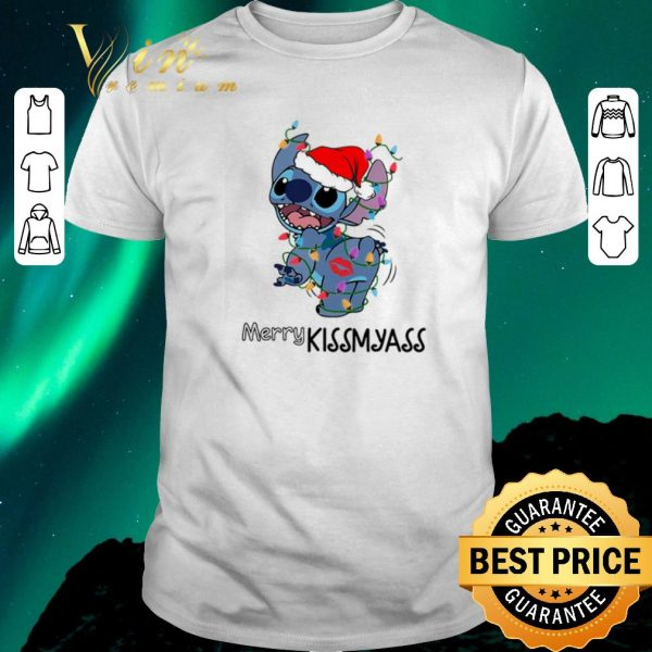 Awesome Stitch santa Merry Kissmyass Christmas shirt