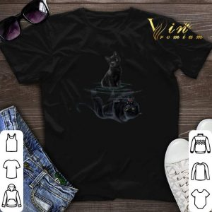 Black cat water mirror reflection black panther shirt sweater