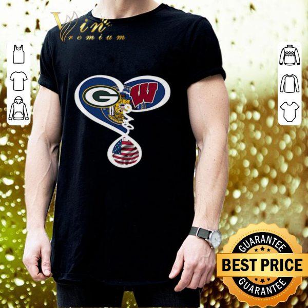 Cheap Green Bay Packers Wisconsin Badgers American flag shirt