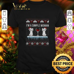 Cheap I'm a simple woman who loves cat and wine Christmas ugly sweater