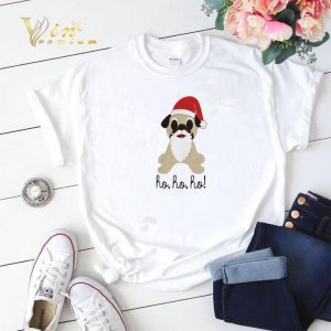 Christmas Pug dog santa ho ho ho shirt 1