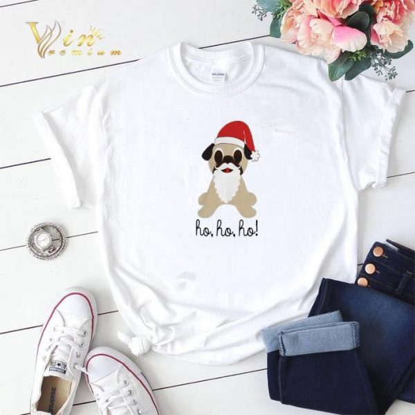 Christmas Pug dog santa ho ho ho shirt