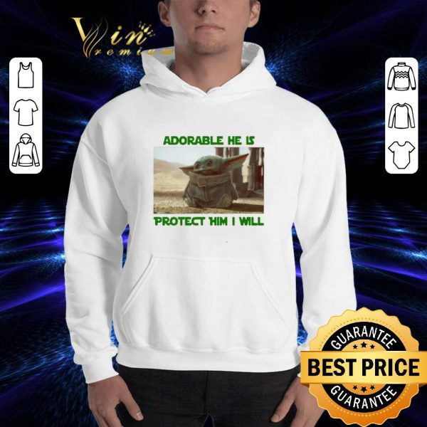 Funny Baby Yoda adorable he is protect him i will The Mandalorian shirt