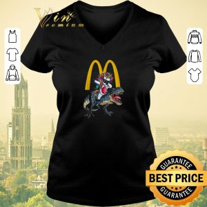 Funny Mcdonald's Unicorn dabbing riding T-Rex dinosaur shirt sweater