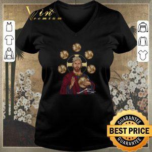Funny Signature Jesus mashup Messi Six Golden Ball shirt