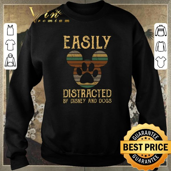 Funny Vintage Mickey Easily distracted by Disney and dogs shirt