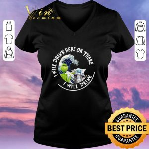 Hot Grinch Baby Yoda i will drink here there White Claw Hard Seltzer shirt sweater