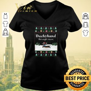Official Ugly Christmas Dachshund through snow sweater 1