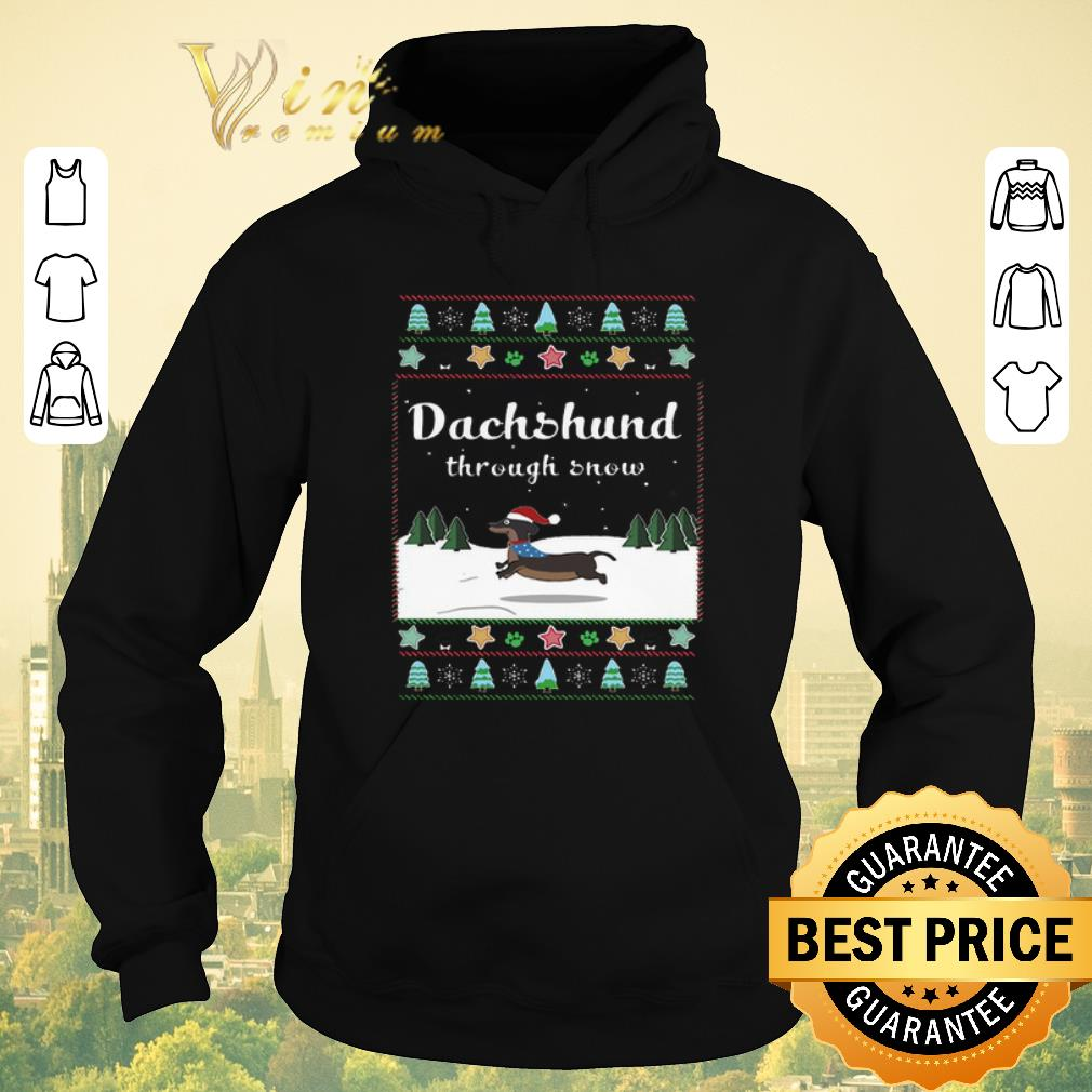 Official Ugly Christmas Dachshund through snow sweater 4 - Official Ugly Christmas Dachshund through snow sweater