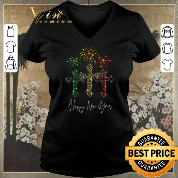 Original Cross Jesus Happy New Year Fireworks shirt sweater
