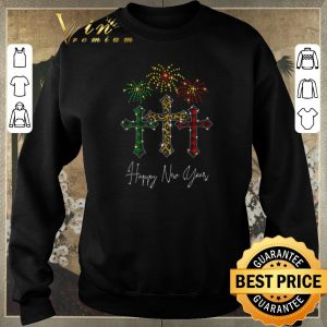 Original Cross Jesus Happy New Year Fireworks shirt sweater 2