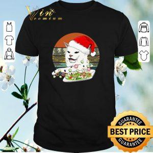 Original Vintage Santa Cat Woman Yelling At A Cat meme shirt