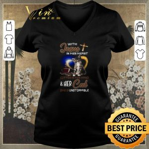 Original With Jesus in her heart coffee hand & her Cat she is unstoppable shirt sweater