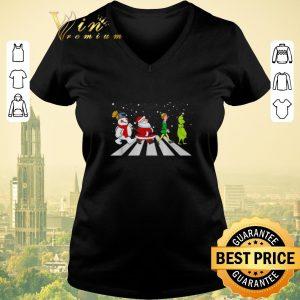 Premium Christmas Santa Elf Grinch Abbey Road characters shirt 1