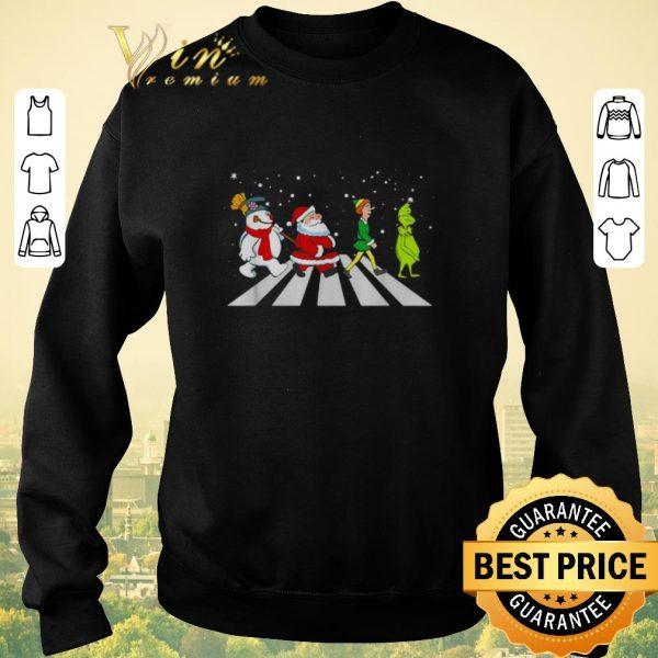 Premium Christmas Santa Elf Grinch Abbey Road characters shirt