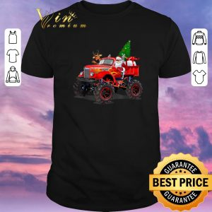 Premium Christmas Tree Santa And Reindeer On Monster Truck shirt