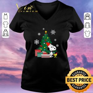 Pretty Christmas tree Snoopy and Woodstock shirt