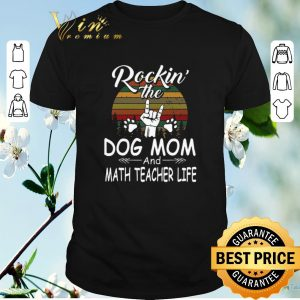 Pretty Rockin' the dog mom and math teacher life vintage shirt sweater