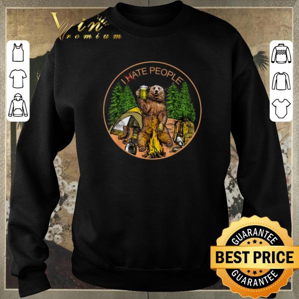 Top Camping bear beer i hate people campfire shirt sweater