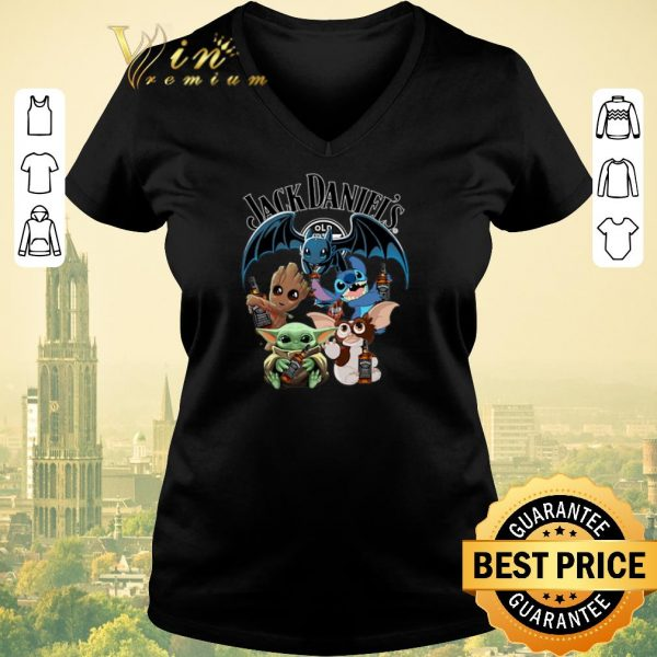 Top Jack Daniel's Baby Yoda Baby Groot and Toothless Stitch Gizmo shirt sweater