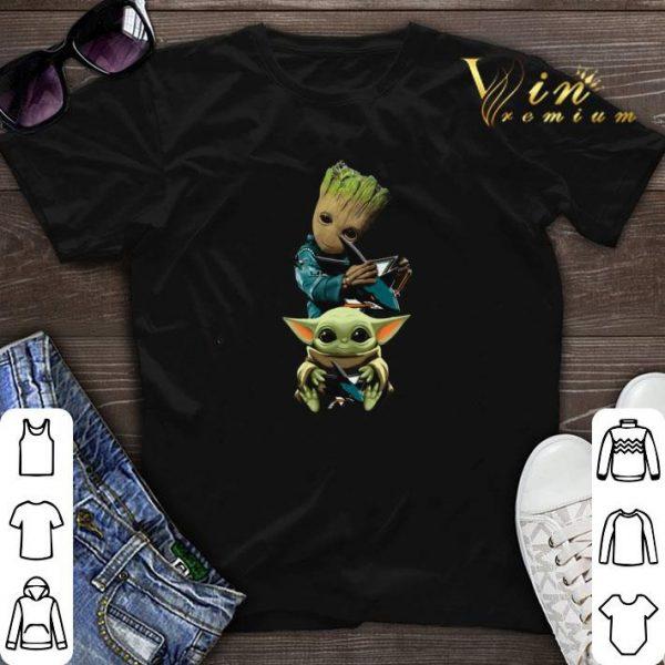 Baby Yoda and Baby Groot hug San Jose Sharks Star Wars shirt sweater