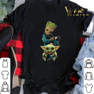Baby Yoda and Baby Groot hug San Jose Sharks Star Wars shirt sweater