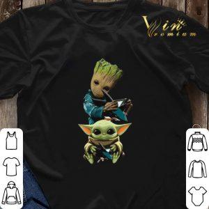 Baby Yoda and Baby Groot hug San Jose Sharks Star Wars shirt sweater 2