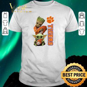 Nice Baby Groot and Baby Yoda hug Clemson Tigers Star Wars shirt sweater