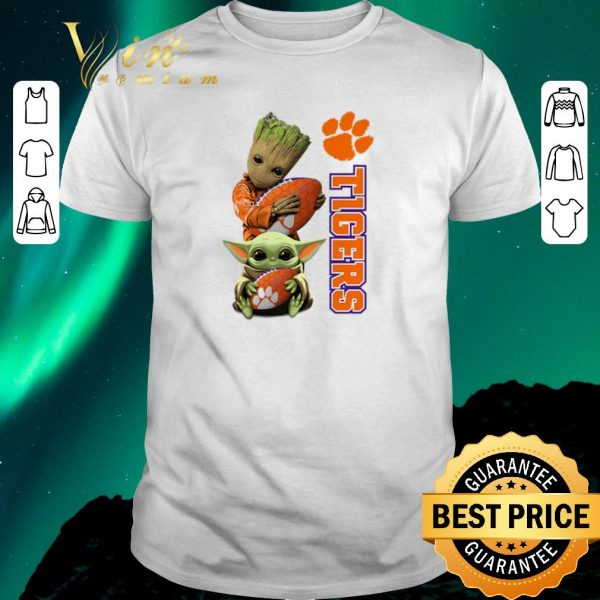 Nice Baby Groot and Baby Yoda hug Clemson Tigers Star Wars shirt sweater