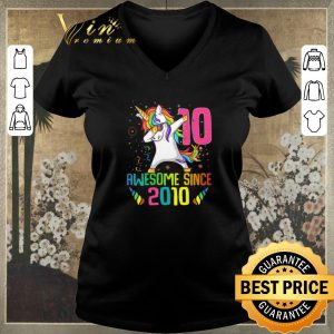 Top Awesome Since 2010 10 Years Old 10th Birthday Unicorn Dabbing shirt sweater
