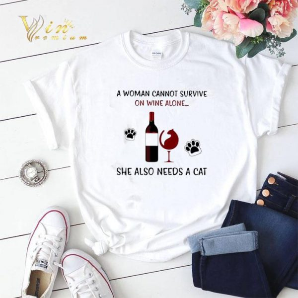 A woman cannot survive on wine alone she also needs a cat shirt sweater