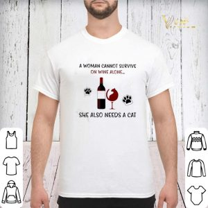 A woman cannot survive on wine alone she also needs a cat shirt sweater 2