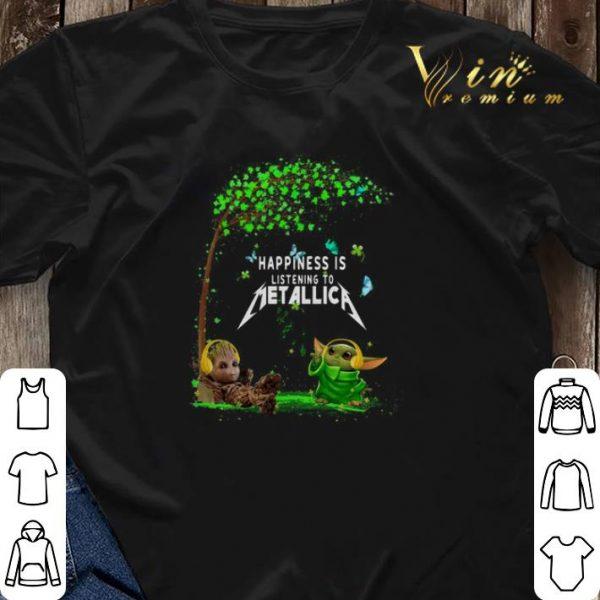 Baby Groot Baby Yoda happiness is listening to Metallica shirt sweater