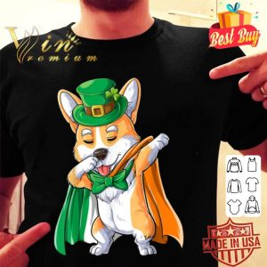 Dabbing Corgi St Patricks Day Boys Leprechaun Dog Irish Flag shirt