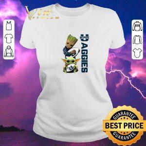 Funny Baby Groot Baby Yoda Hug Utah State Aggies Star Wars shirt sweater