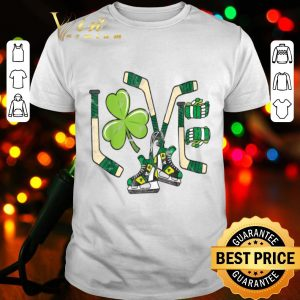 Ice Hockey Love St Patricks Day Cute Gift Goalie Clover Boys shirt