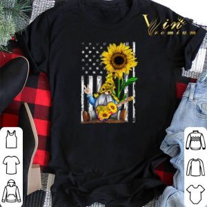 Sunflower Gnome Playing Guitar American Flag shirt sweater