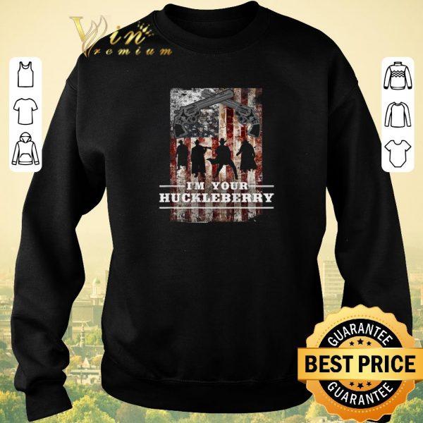 Top Revolver gun I'm your Huckleberry American Flag shirt sweater