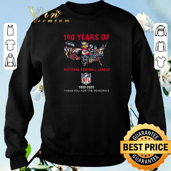 100 years of NFL team map 1920-2020 thank you for the memories shirt sweater