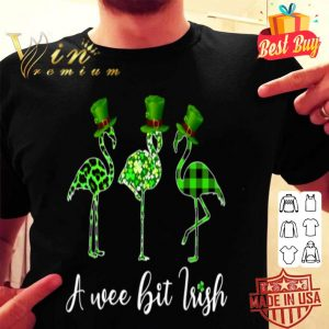 A wee bit Irish Flamingo Lover Gift Tee For St Patrick's Day T-shirt